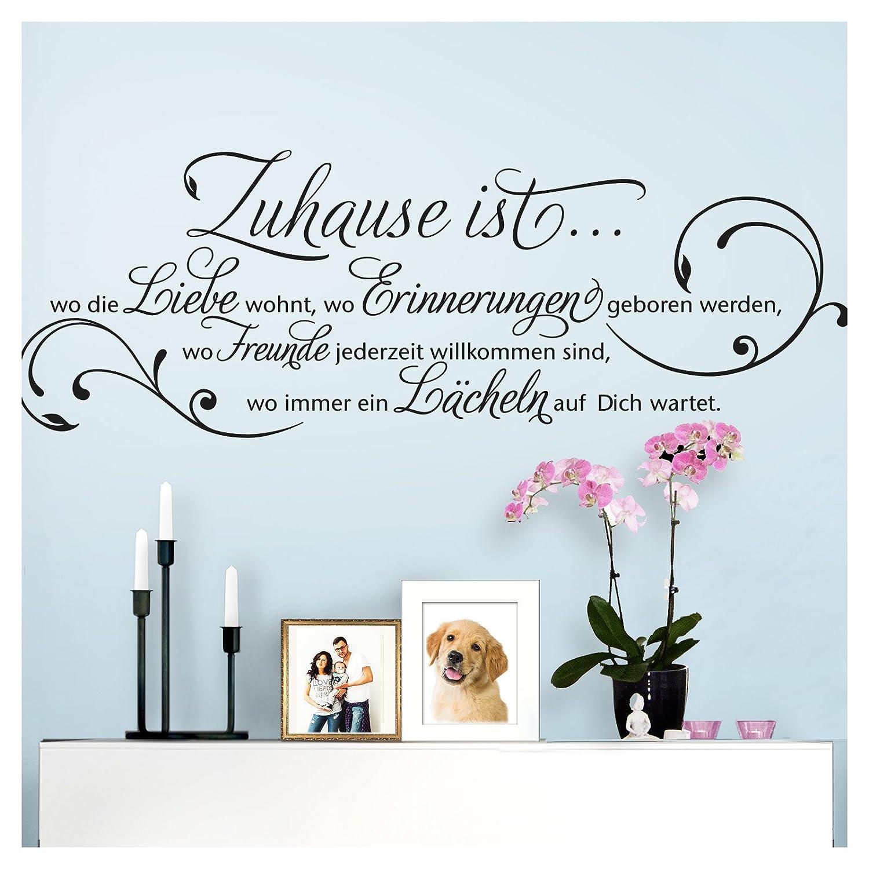 Grandora Wandtattoo Zitat Zuhause ist wo die Liebe wohnt I azurblau (BxH) 58 x 20 cm I Wohnzimmer Flur Diele Aufkleber Wandaufkleber Wandsticker Sticker W942