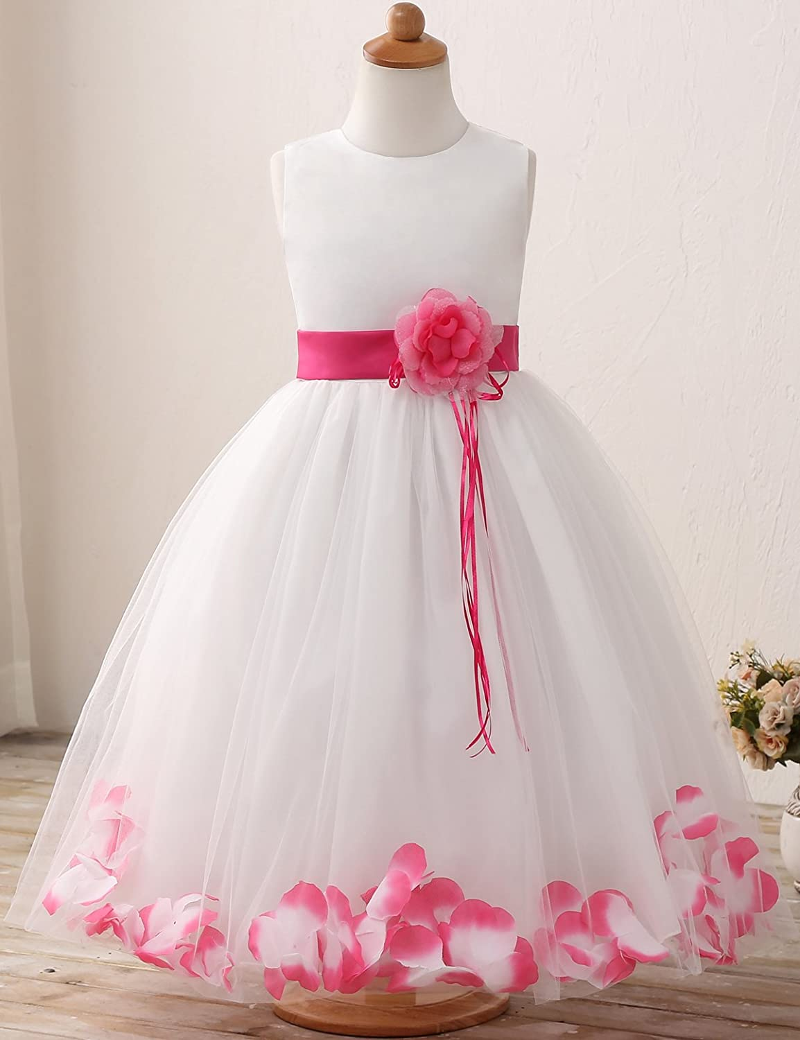 31a5ec7b6cd NNJXD Girl Tutu Flower Petals Bow Bridal Dress for Toddler Girl Size 3-4  Years Big Rose Red  Amazon.in  Clothing   Accessories