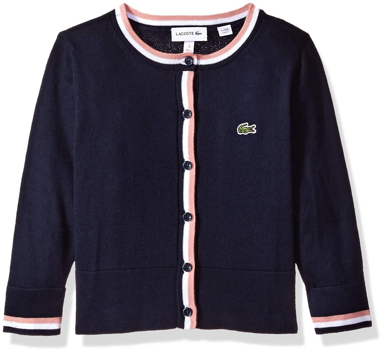 Lacoste Little Girl Cotton Wool Multico Stripes Cardigan, Navy Blue/White/MELITTE, 3