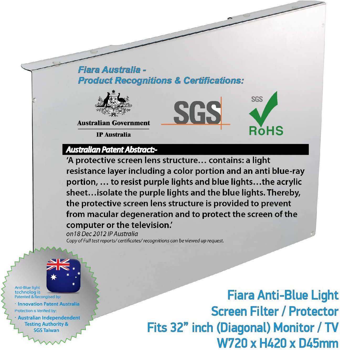32-inch Fiara TV Monitor Anti Blue Light Screen Protector Filter W720 x H420mm; Filtering up to 99.9/% UV//Blue Light Protection is Verified by IP Australia /& Independent Test Authority HEV