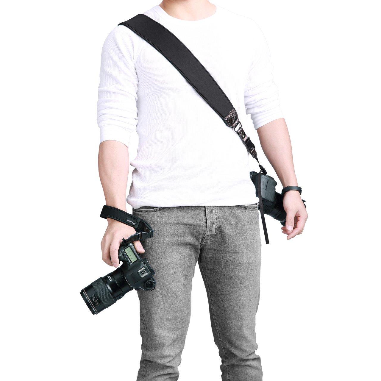 Powerextra 8 en 1 Correa de Muñeca Cámara (con 2 conectores) + Correa para el Hombro (con 4 conectores) Cámara de Neopreno Ajustable Cuello / Correa de Mano Cámara(Canon Nikon Sony Pentax Olympus,etc)