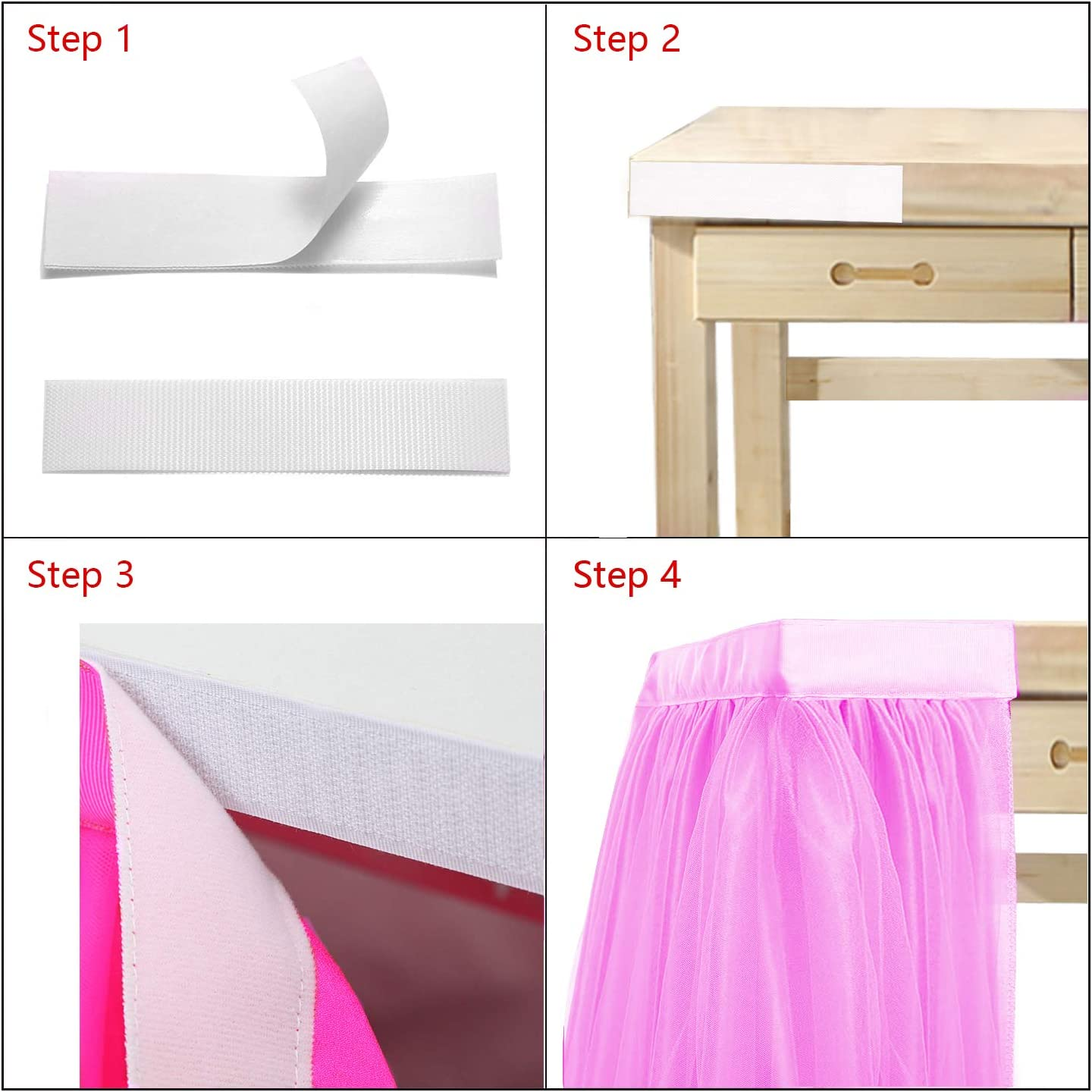 Pink Tutu Table Skirt Tulle Table Skirt for Baby Shower Table Candy Buffet Supplies Centerpieces Princess Birthday Unicorn Party 6ft