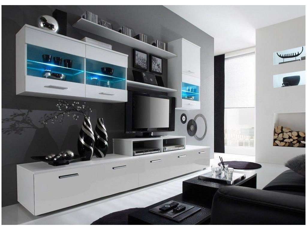 Paris Contemporary Design Wall Unit Modern Entertainment Center Unique With LED Lights High Storage Capacity Living Room Furniture