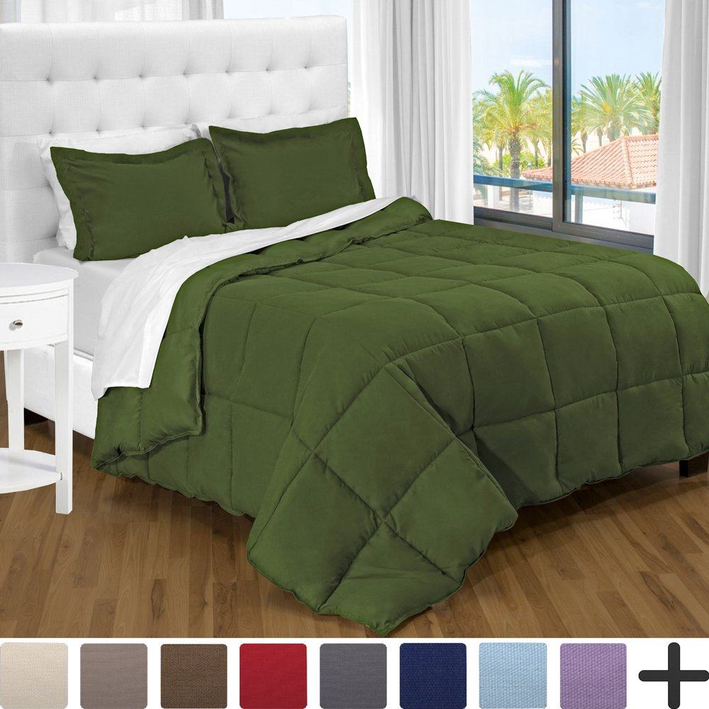 Ultra-Soft Premium 1800 Series Goose Down Alternative Comforter Set Green