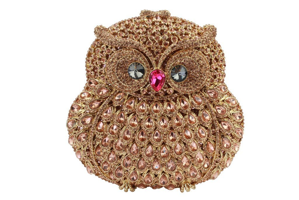 Yilongsheng Women's Owl Shaped Wedding Prom Clutch Bags with Bright-colored Crystal(Champagne)