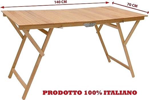 Tavolo Pieghevole Di Legno.Tavolo Pieghevole In Legno Naturale 140x70 Cm Amazon It Giardino