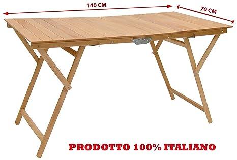 Vendita Tavolino Pieghevole.Tavolo Tavolino Pieghevole Richiudibile Legno Naturale 140x70 Cm Campeggio Casa