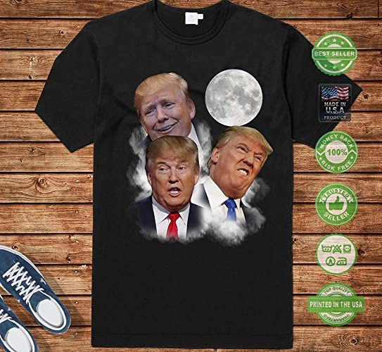 3625705f Amazon.com: 3D Three Trump Moon Funny Parody Three Moon Donald Trump  Political Meme Handmade T-Shirt Hoodie/Long Sleeve/Tank Top/Sweatshirt:  Handmade