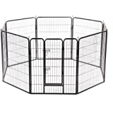 "BestPet 40"" Folding Metal Dog Exercise Fence Heavy Duty Pet Playpen With Door and Locks 8 Panel Cage"