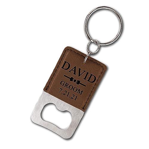 Customized Personalized Bottle Opener Keychain Groomsman Gift Keychain Wedding Party Gift Bottle Opener Favor Engraved