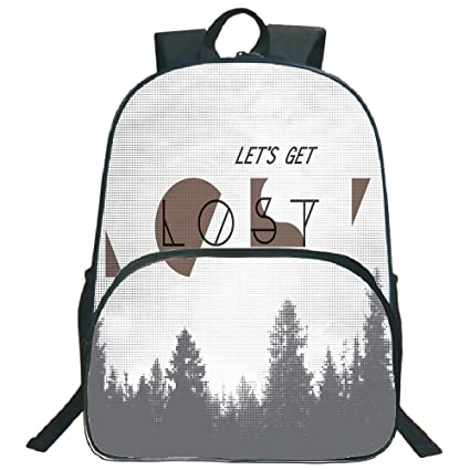 "a15f65915 Adventure 3D Print 16"" Backpacks,Inspirational Quote Lets Get Lost  Halftone Forest Abstract Vintage"