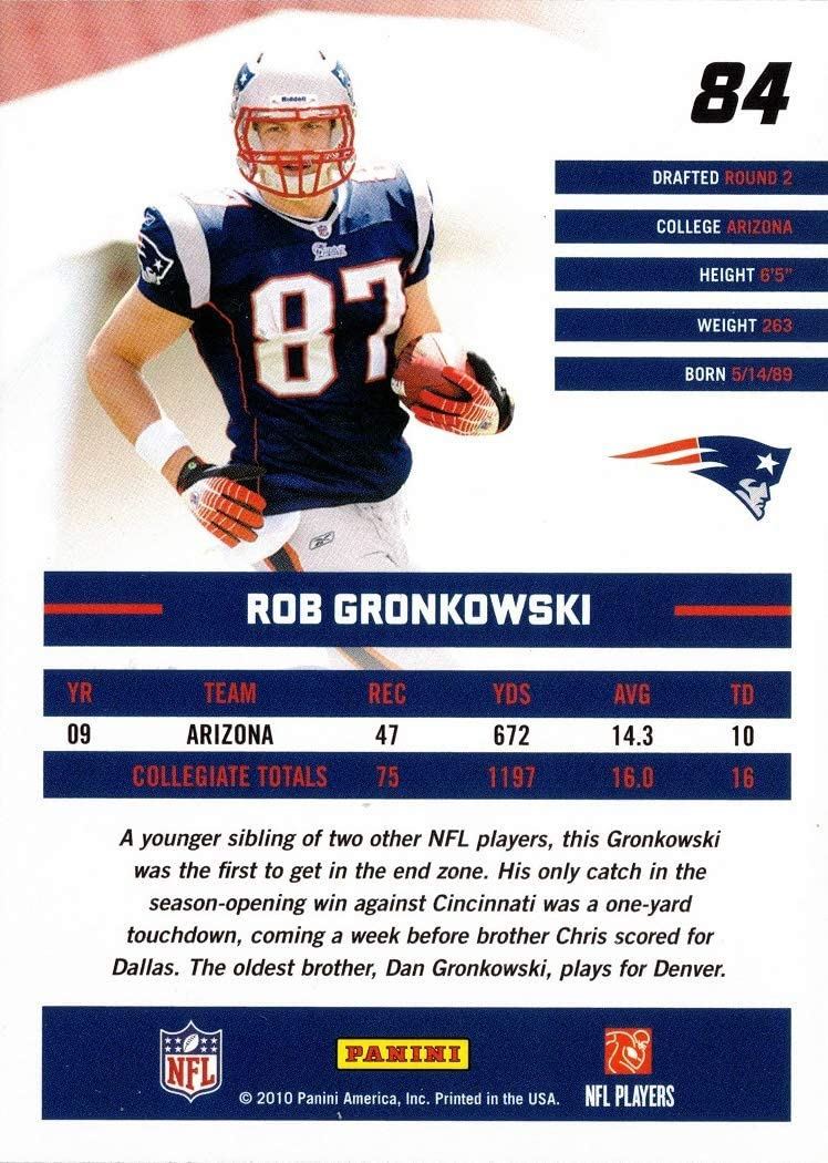 Rated Rookie 2010 Panini Donruss Football #84 Rob Gronkowski Rookie Card