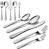 65-Piece Silverware Serving Set, HaWare Stainless Steel Hammered Flatware Cutlery for 12, Elegant & Classic Design Tableware