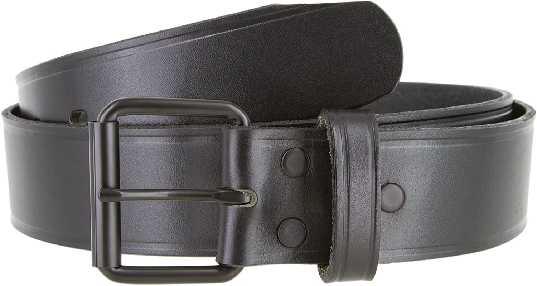Black Roller Buckle Genuine Leather Uniform Work Belt 1 1//2 Wide