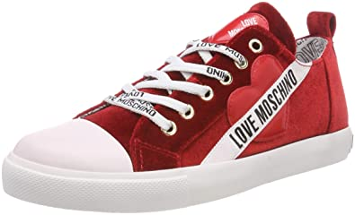 31d261c629def7 Love Moschino Scarpad.gomma30 Velluto, Sneakers Basses Femme, Rouge (Rosso  50a)