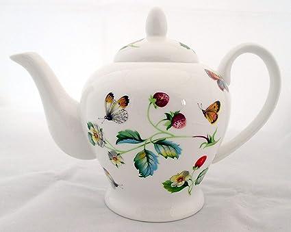 fromeuropewithlove Tetera de porcelana china con diseño de fresas y mariposas, 800 ml, tetera