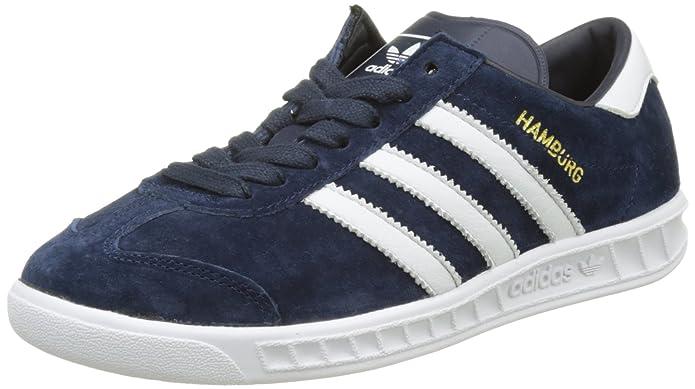 adidas Hamburg Herren/Damen Unisex Schuhe blau (Collegiate Navy) mit weißen Streifen