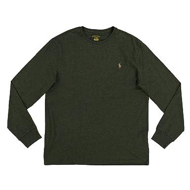 d64d6e98 Polo Ralph Lauren Mens Long Sleeve Crew Neck T-Shirt (S, Green Heather):  Amazon.co.uk: Clothing