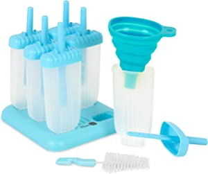 Homiu Popsicle Moulds Six DIY Non-Stick Features Easy To Clean Includes Drip Tray Child, Dishwasher Freezer Safe Create Your Own (blue)