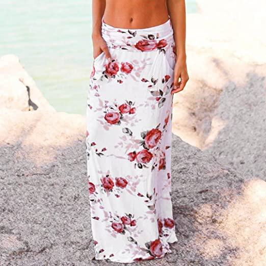 Women Summer Floral Print Skirt Lady Pocket Long Low Waist Casual Beach Skirt Dress at Amazon Womens Clothing store: