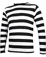 Striped Long Sleeve Shirt Black and White Adult