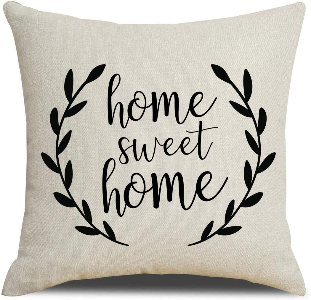 PSDWETS Farmhouse Throw Pillow Covers Home Sweet Home Quotes Linen Pillow Covers 18 x 18 Inches for Rustic Modern Farmhouse Decor Perfect Housewarming Gifts