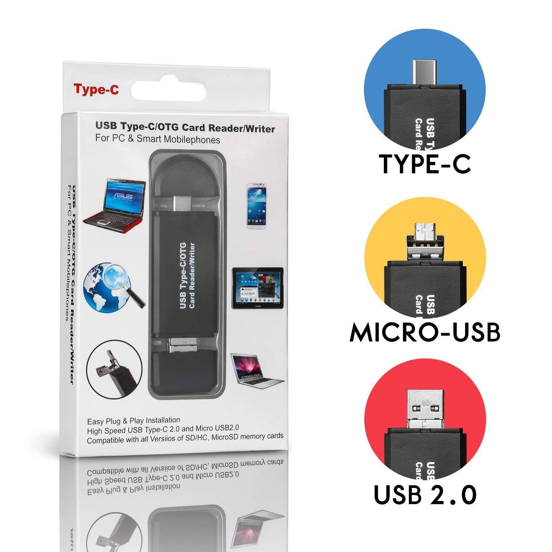USB 3.0 Tipo C Micro USB SD / Micro SD Card Reader, COSOON USB 3.0 Adaptador Lector de Tarjeta de Memoria para SDXC, SDHC, SD, MMC, RS-MMC, Micro SDXC, ...
