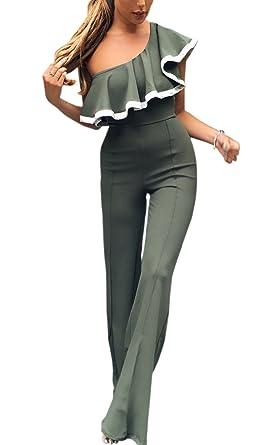 2d4de3c4d1aed9 ECOWISH Jumpsuit Damen Elegant Overall Einteiler Hosenanzug Hose lang  Einzelne Schulter Cocktail