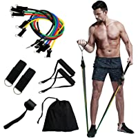Qcfang Resistance Bands Set 11 Pack Workout Bands,Include 5 Exercise Bands up to 100lb,2 Handles,2 Straps,1 Door Anchor…