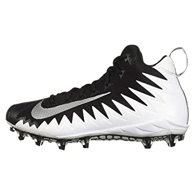 official photos 09440 66850 Nike Mens Alpha Menace Pro Mid Football Cleat WhiteMetallic SilverBlack  Size 8