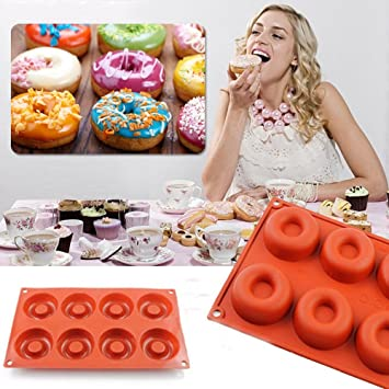Molde de silicona para tartas, 8 agujeros, para magdalenas, chocolate, dulces,