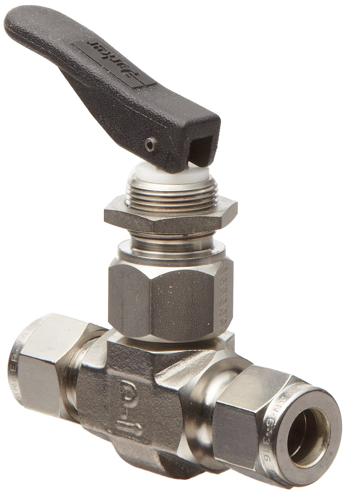 Parker VQ Series Stainless Steel 316 Toggle Valve, Inline, Toggle Handle, PTFE Stem, 1/4'' A-Lok Compression Fitting