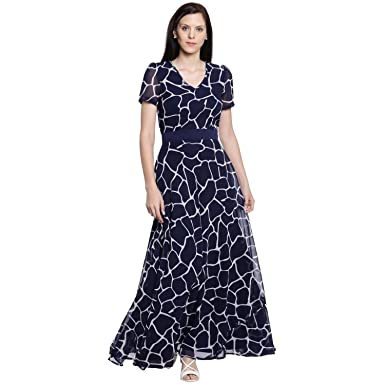 d62b2e2f156 Just Wow Women Navy Blue Printed Maxi Dress  Amazon.in  Clothing ...