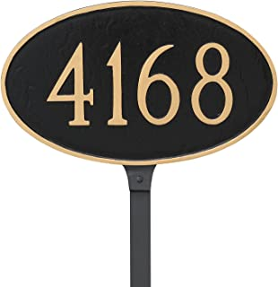 "product image for Montague Metal 6"" x 10"" Classic Oval Address Sign Plaque with Stake, Small, Navy/Gold"