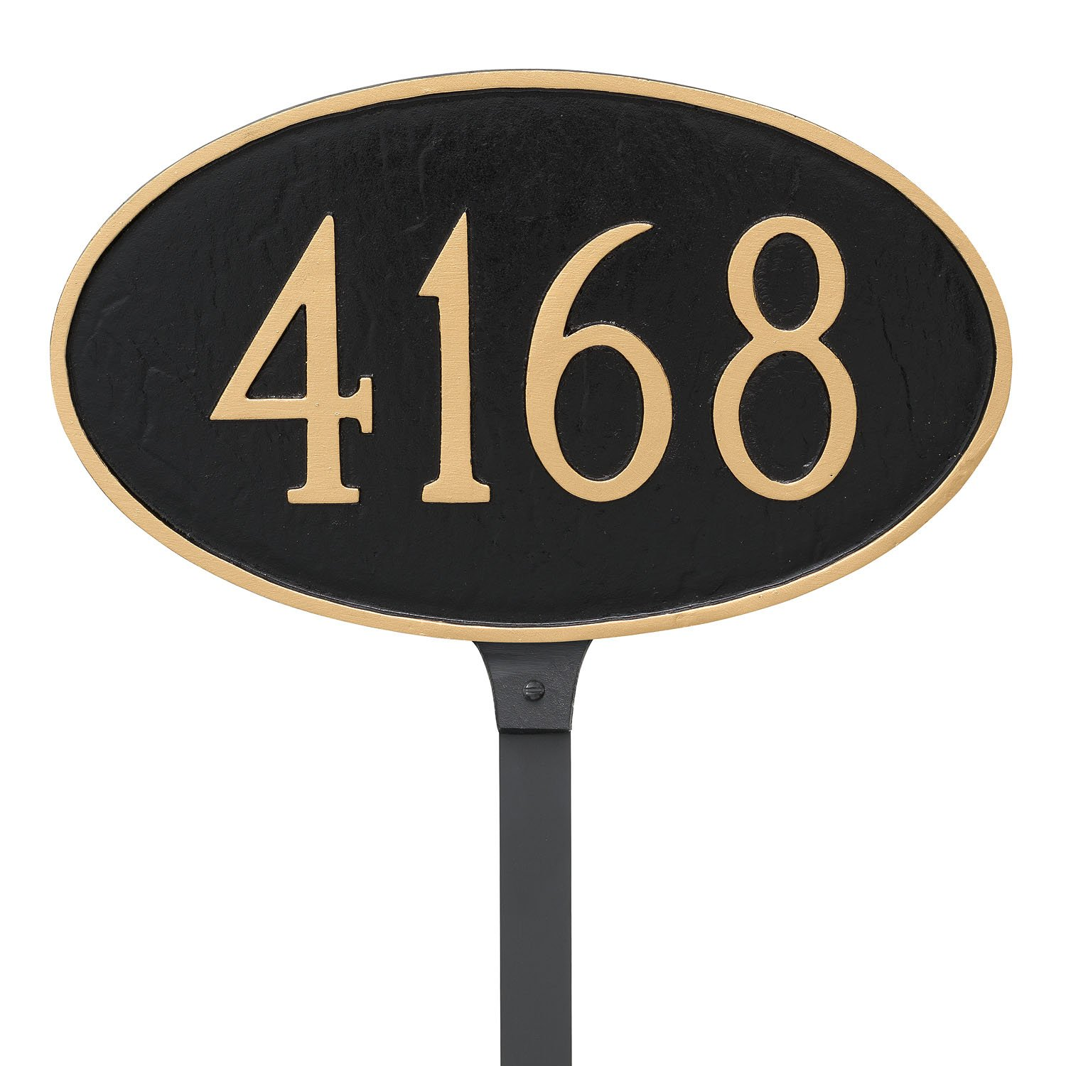 Montague Metal 8.5 x 13.75 Classic Oval Address Sign Plaque with Lawn Stake, Standard, Black/Gold PCS-0004S1-L-BG