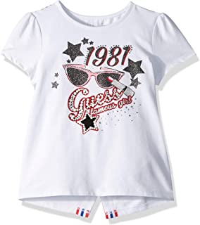 a65d982631fb Amazon.com: GUESS Girls' Little Short Sleeve Classic Logo Floral ...