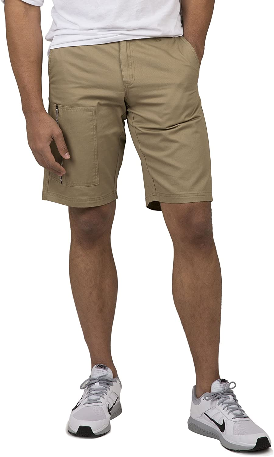 Vibes Mens Twill Cargo Shorts Zipper Utility Pocket 11 Inseam