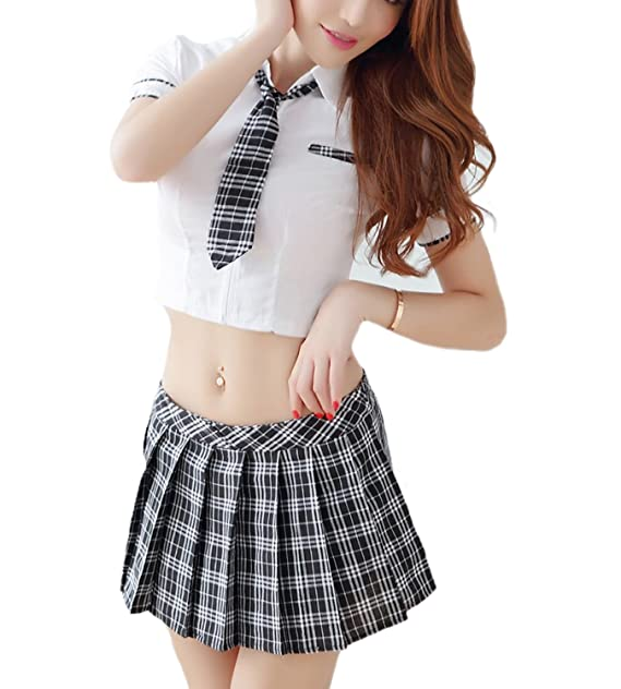 438c2bd1319 365-Shopping School Girl Costume Outfits Fancy Dress Sexy Role Play  Lingerie Plaid Pleated Mini Skirt