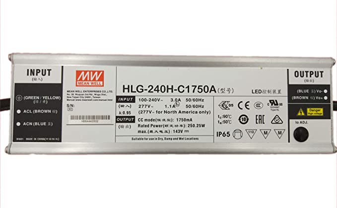 MW Mean Well HLG-240H-C1750B 143V 1750mA 250.25W Single Output Switching LED Power Supply with PFC