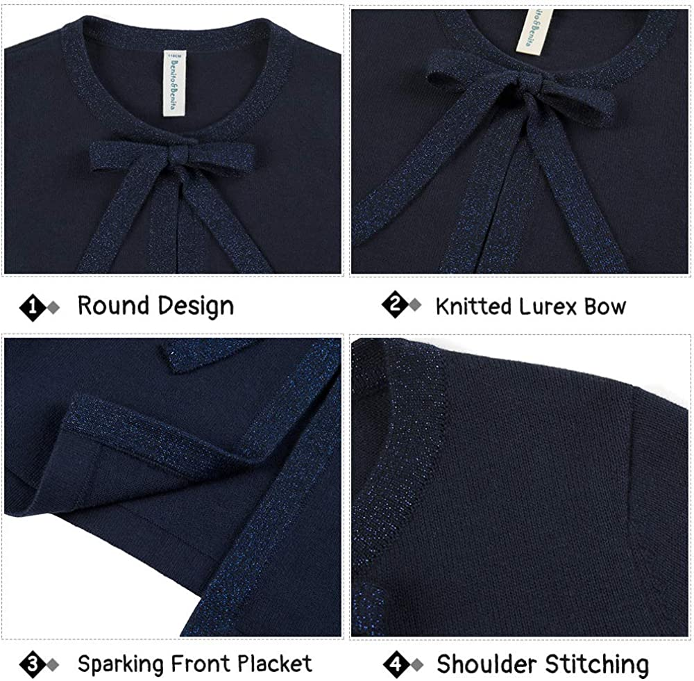 Benito /& Benita Girls Cardigan Sweaters with Sparkle Bowknot Cotton Knitted Bolero Long Sleeves