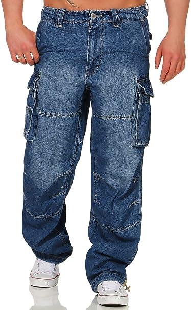 Jet Lag Jeans 007 Herren denim navy Hose Seitentaschen blau Cargojeans Cargo