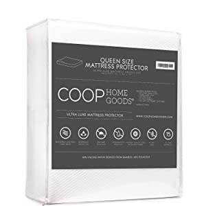 Lulla Waterproof Mattress Protector by Coop Home Goods - Cooling Waterproof Hypoallergenic Topper- Queen Size Cover- White - 15-year warranty
