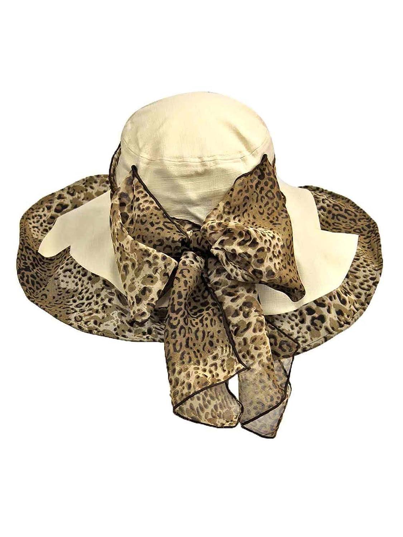 8af2c0a1b207a Luxury Divas Cream Cotton Wide Brim Floppy Hat With Leopard Bow at ...