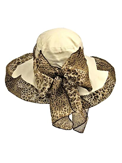 a28ed36a78ad1 Image Unavailable. Image not available for. Color  Luxury Divas Cream  Cotton Wide Brim Floppy Hat With Leopard Bow