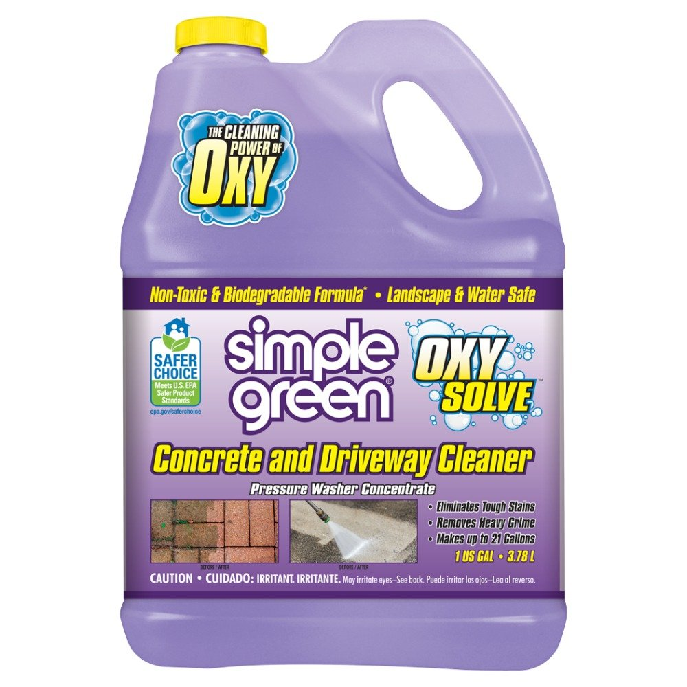 SIMPLE GREEN Oxy Solve Concrete and Driveway Pressure Washer Cleaner - Removes Stains from Mold, Mildew and Oil on Garage Floors, Sidewalks, Walkways & Driveways - Concentrate 1 Gal. by SIMPLE GREEN