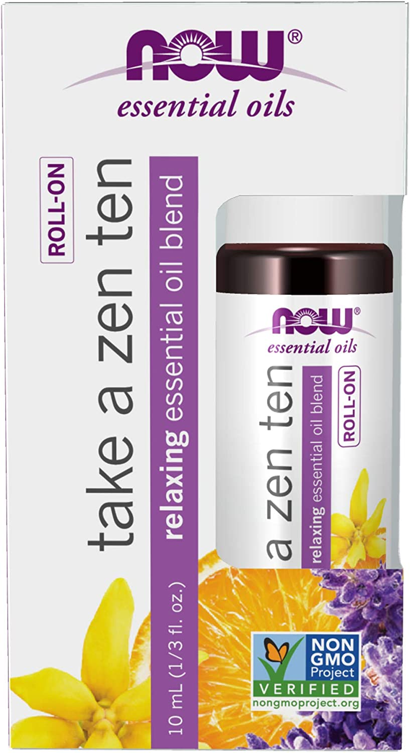 NOW Foods Essential Oils, Take A Zen Ten Roll On, Relaxing Blend, Topical Aromatherapy, 0.33 Ounce