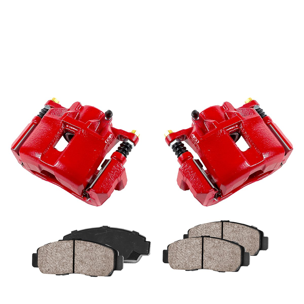 CCK11850 2 FRONT Performance Loaded Powder Coated Red Caliper Assembly Quiet Low Dust Ceramic Brake Pads