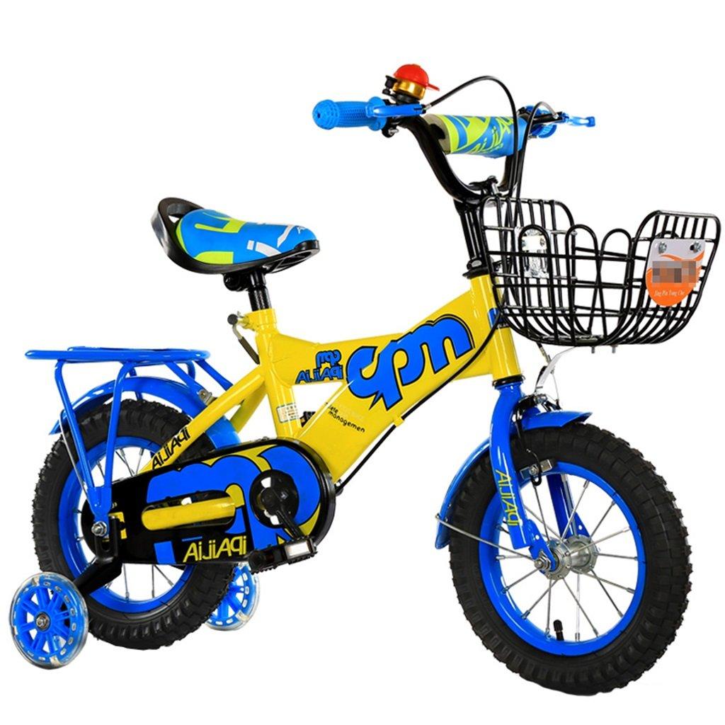 KANGR-子ども用自転車 子供の自転車適切な2-3-6-8男の子と女の子子供のおもちゃアウトドアマウンテンバイクハンドルバー/サドルの高さは、フラッシュトレーニングホイールで調節可能 後部座席-12 / 14/16/18インチ ( 色 : 青 , サイズ さいず : 16 inch ) B07BTVPD6M 16 inch|青 青 16 inch