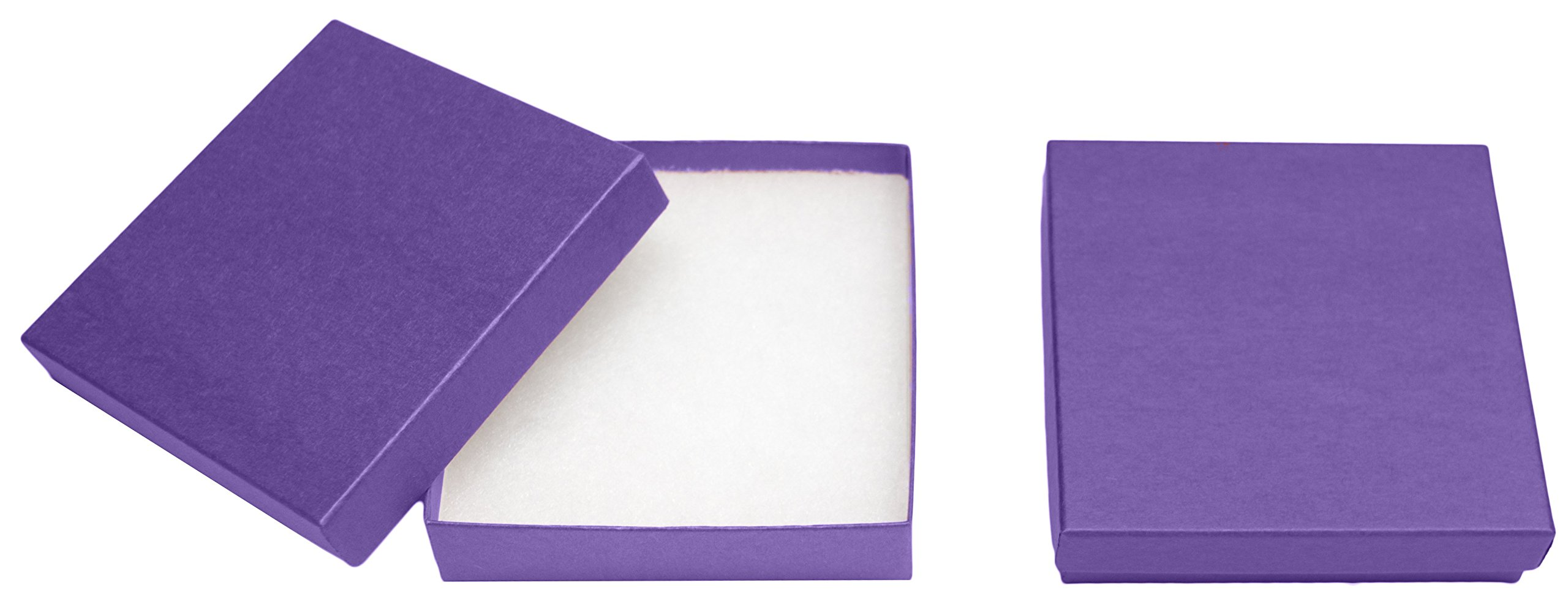 Novel Box® MADE IN USA Jewelry Gift Box in Purple Kraft With Removable Cotton Pad 3.5X3.5X0.9'' (Pack of 15) + Custom NB Pouch
