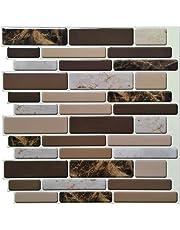 "Art3d Kitchen Backsplash Tiles Peel and Stick Wall Stickers, 12""x12"" Marble Design"